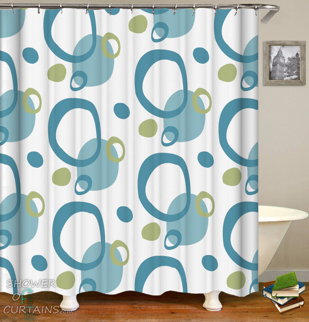 Classic Shower Curtain of Green And Teal Rings