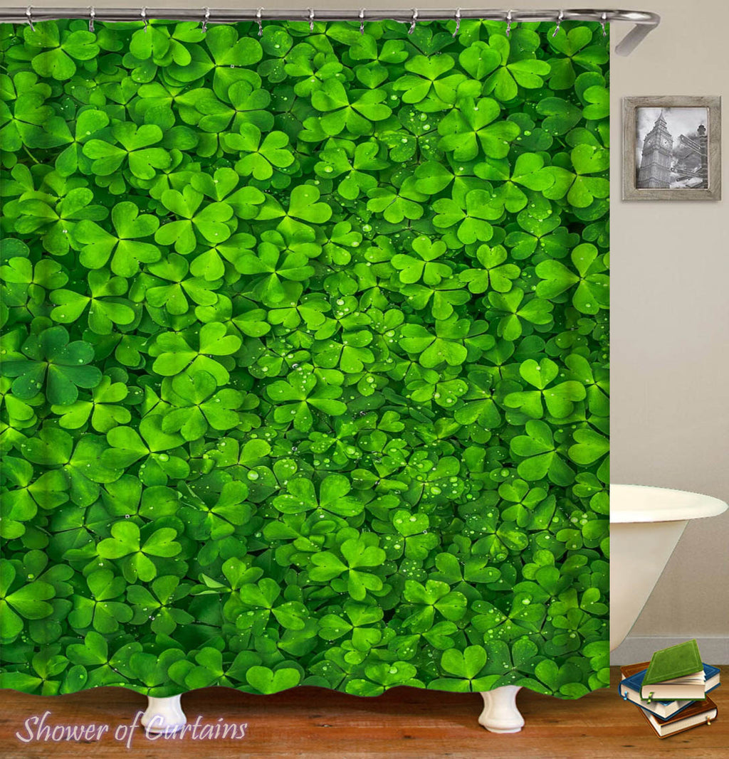 Clover Shower Curtain - Green Bathroom