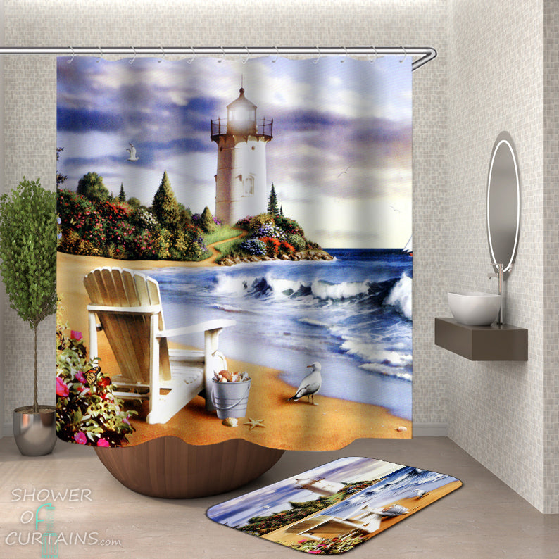 Coastal Lighthouse Shower Curtain