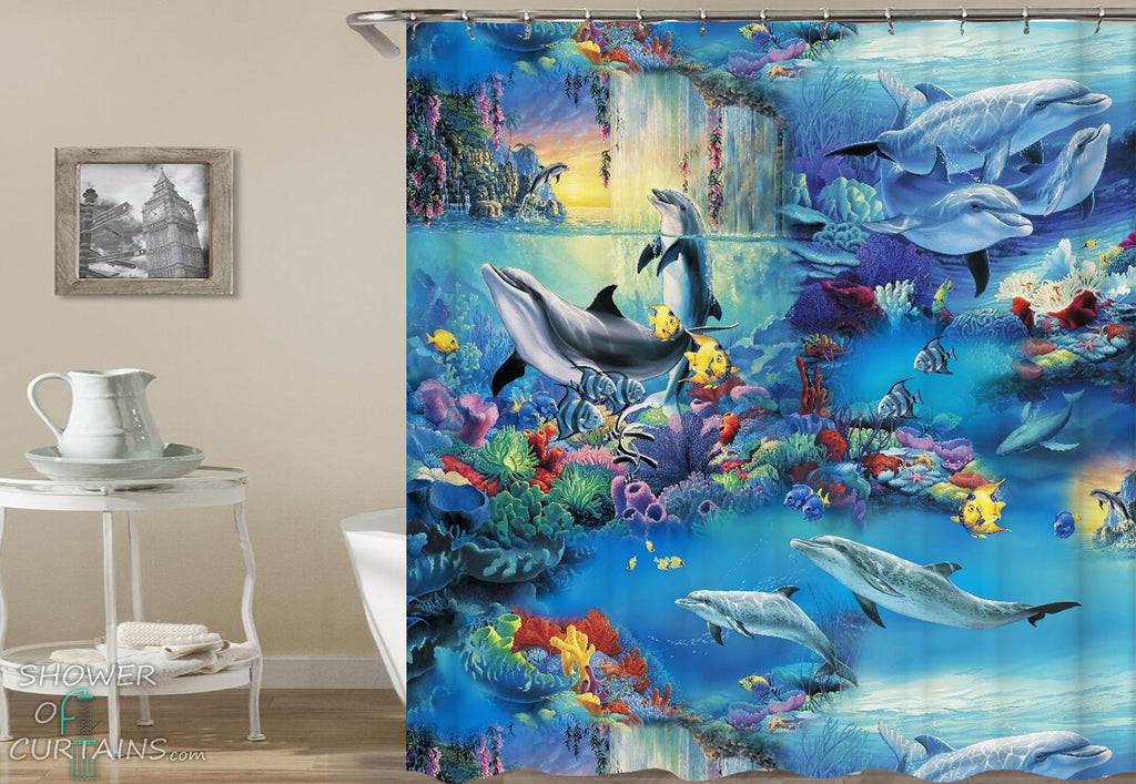 Colorful Underwater Life Shower Curtain - Dolphin Bathroom