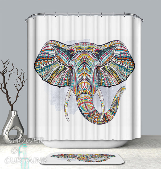 Colorful Abstract Elephant Shower Curtain