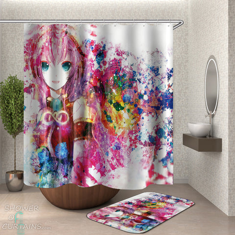 Colorful Anime Girl Shower Curtain