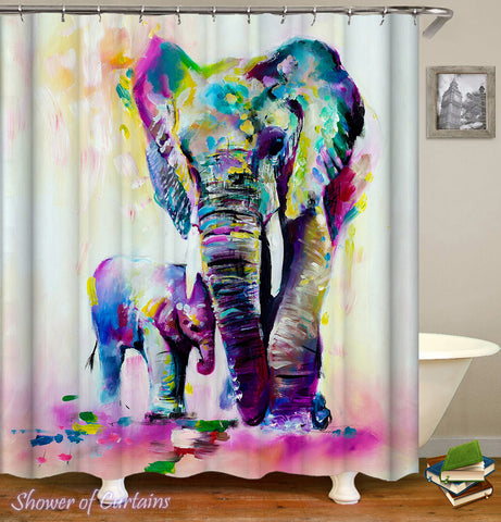 Colorful Art Shower Curtains of Elephant And Its Baby Art Painting