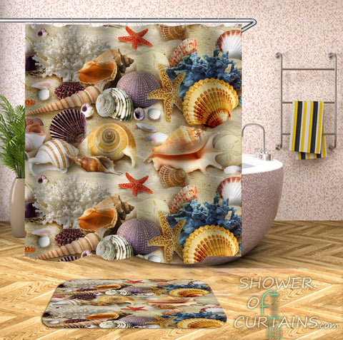 Colorful Beach Shower Curtain of Colorful Seashells