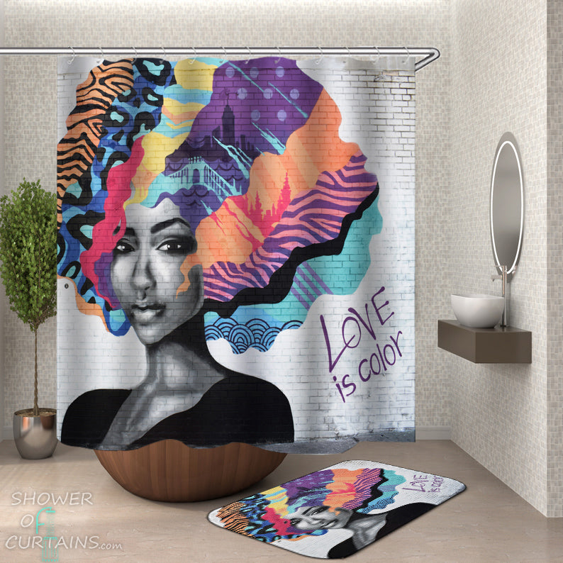 Colorful Black Woman Shower Curtain of Love Is Color Wall Art