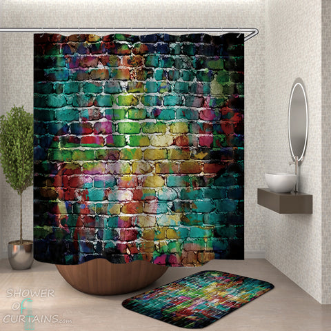 Colorful Brick Shower Curtain