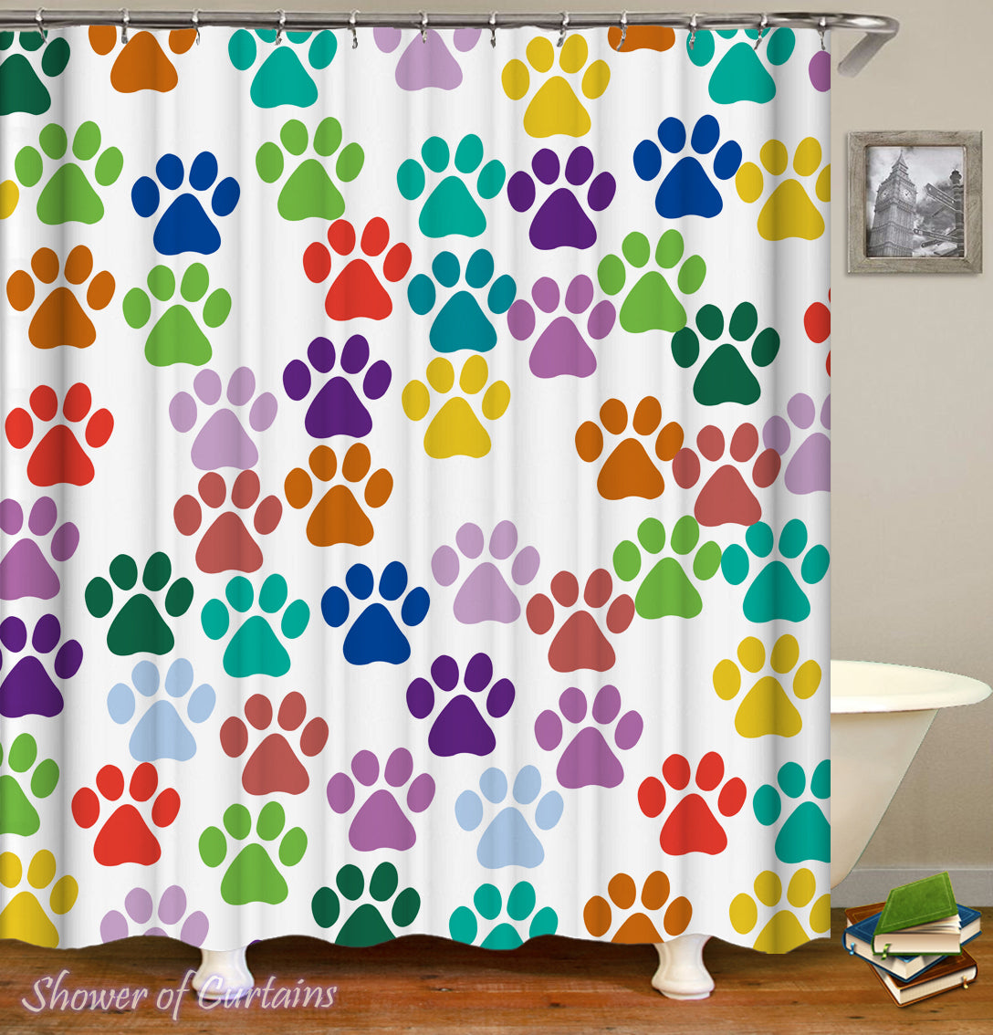 colorful dog paws shower curtain - Colorful Shower Curtains