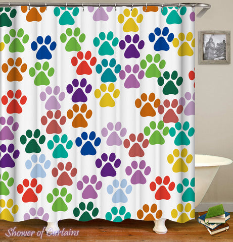Colorful Dog Paws shower curtain