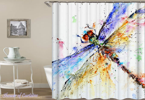 Colorful Dragonfly Art Shower Curtain - Dragonfly Shower Curtain