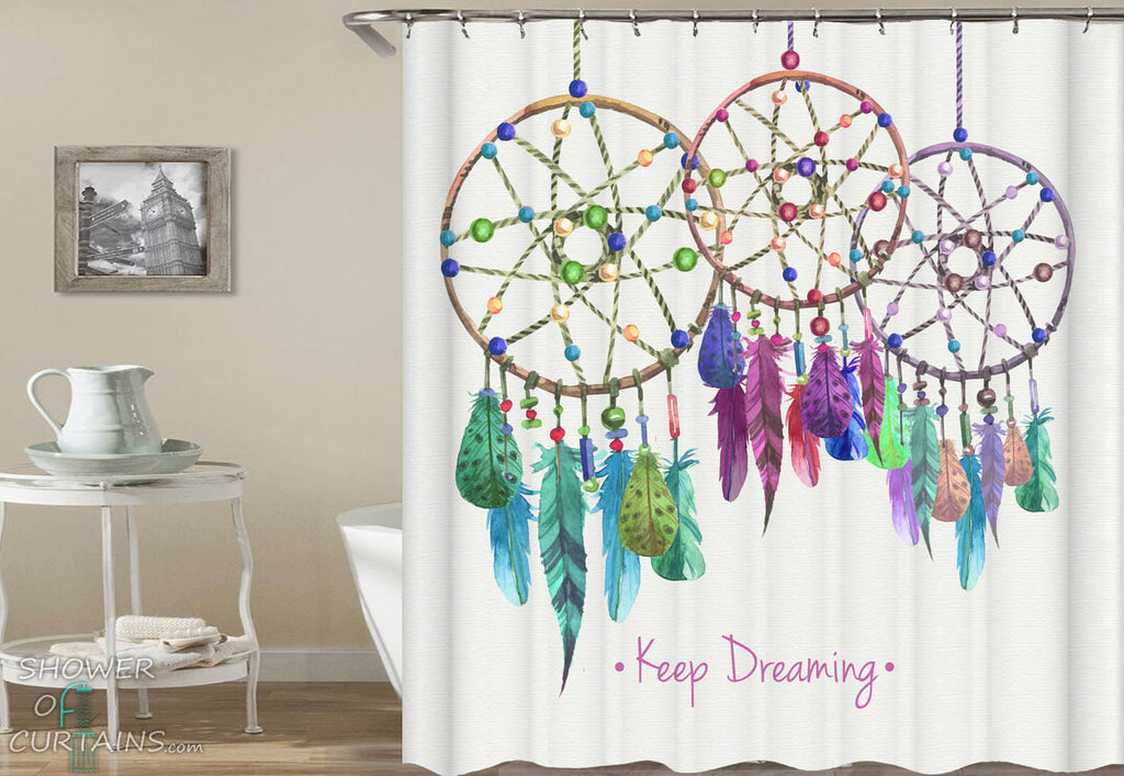 Colorful Dream Catchers Shower Curtain - Native American Bathroom Decor