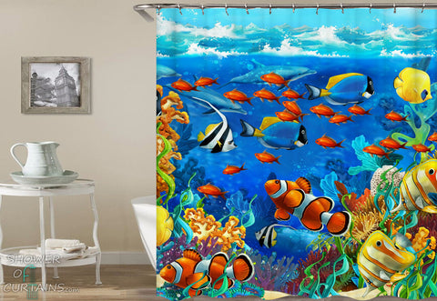Colorful Fish Shower Curtain - Colorful Ocean's Life