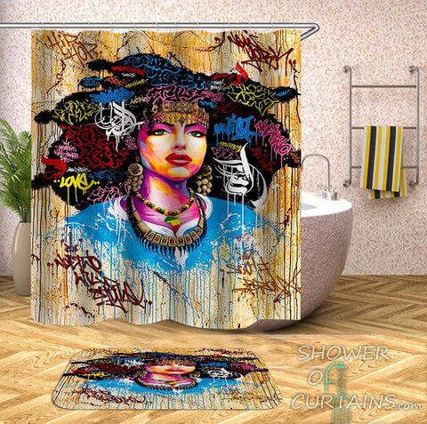 Colorful Graffiti African Girl Shower Curtain - African Thmed Bathroom