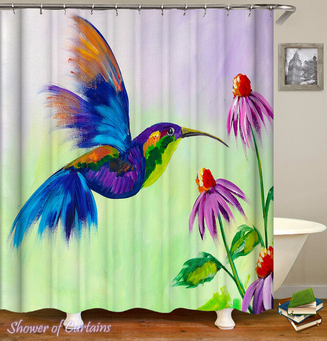 Colorful Honeybird Art Shower Curtain