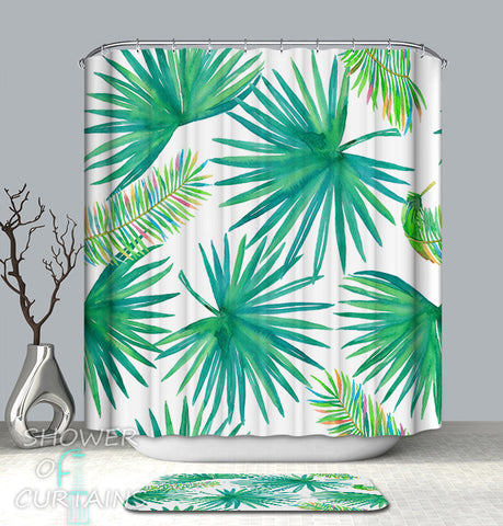 Colorful Leag Shower Curtains - Green And Rainbow Colored Palm Leaf