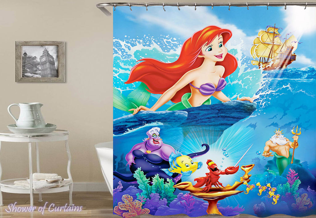 Colorful Little Mermaid Shower Curtain - Kids' Bathroom Decor