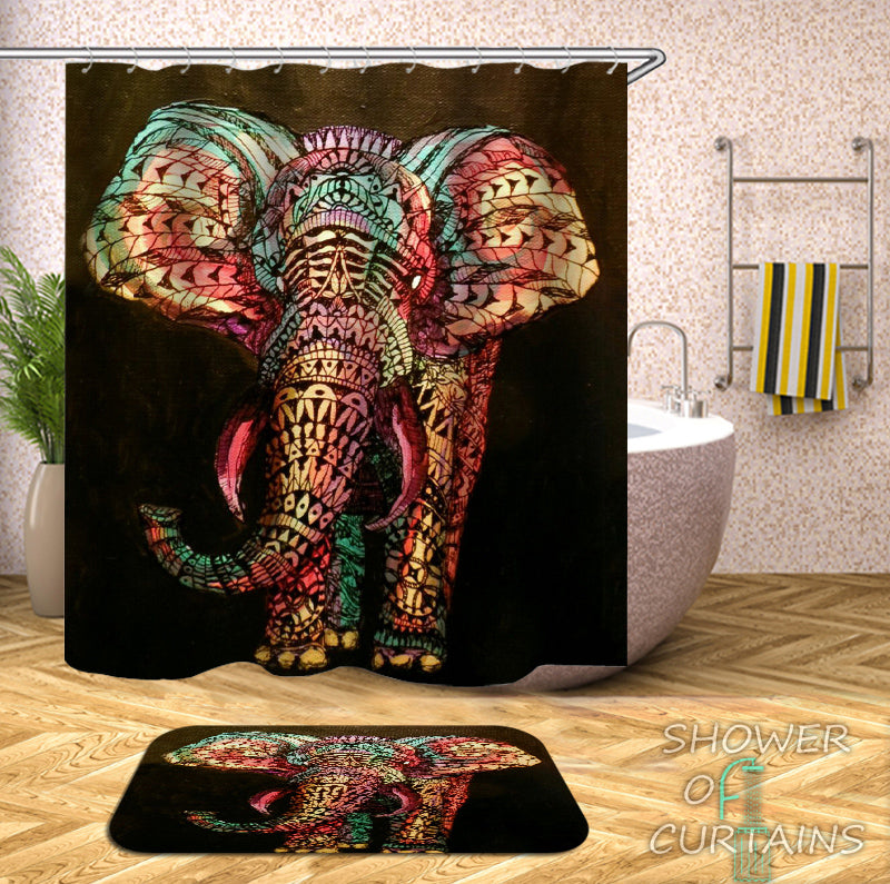 Colorful Oriental Elephant Shower Curtain - Art Shower Curtains