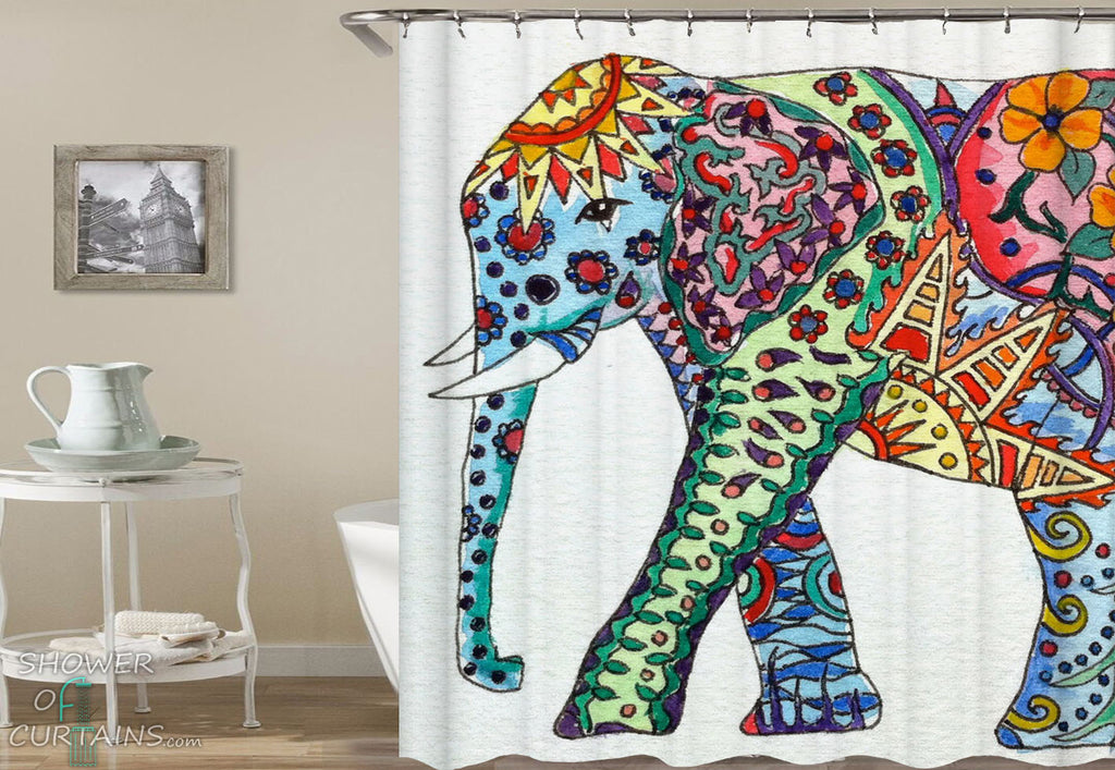 Colorful Ornate Elephant Painting Shower Curtains