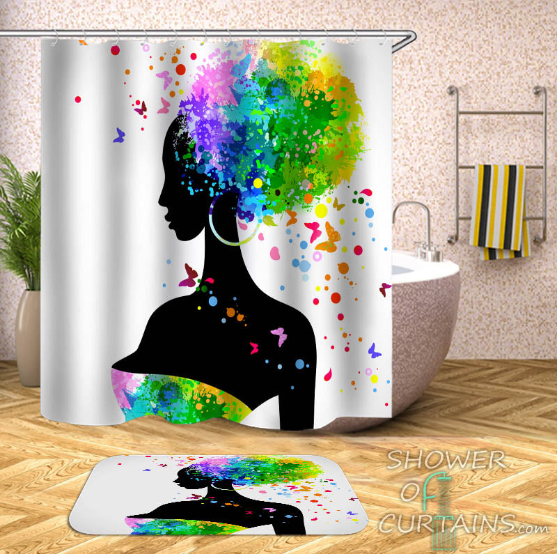 Colorful Paint Splash Afro Girl Shower Curtain