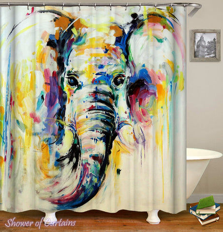Colorful Painting Elephant shower curtain