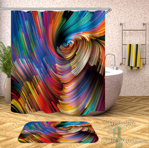 Colorful Shower Curtains - Colorful Twister