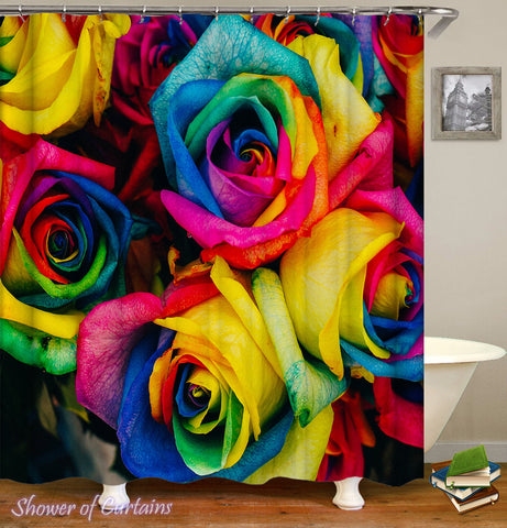 Colorful Shower Curtains - Multi Colored Roses