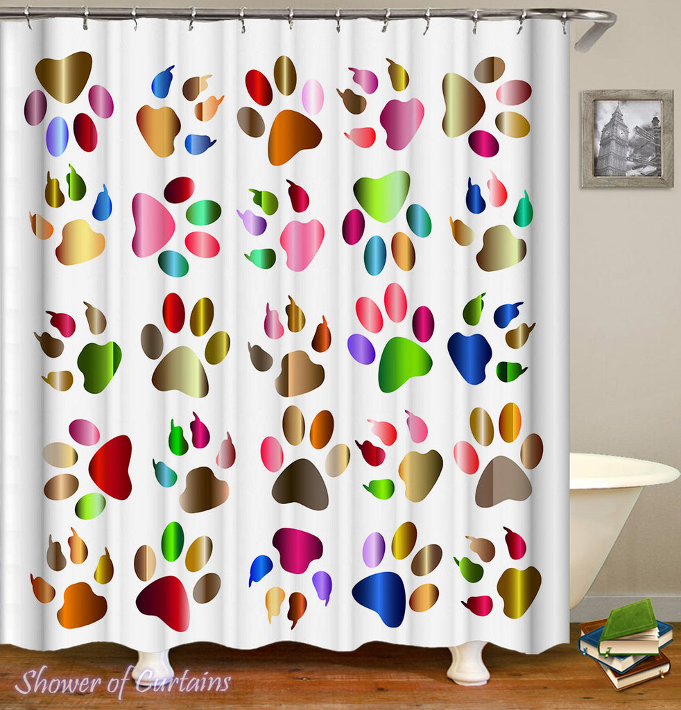 Colorful Shower Curtains - Multicolored Paws And Claws