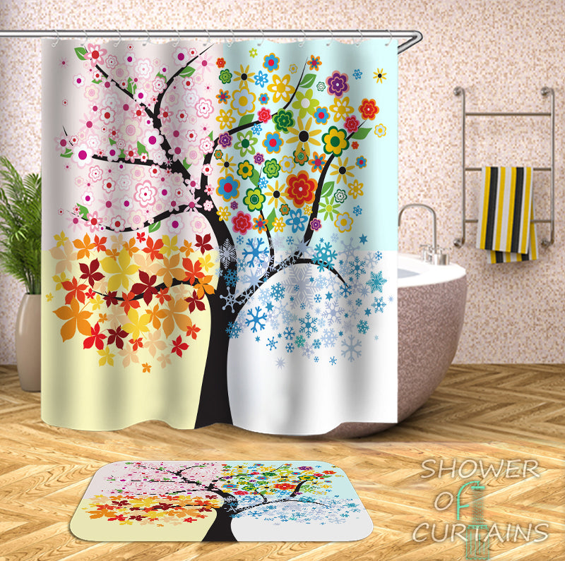 Colorful Shower Curtains - The Four Seasons Tree Shower Curtain