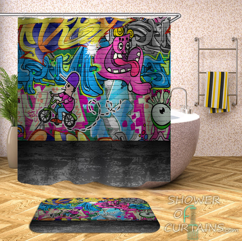 Colorful Shower Curtains Design of Colorful Graffiti Wall Art