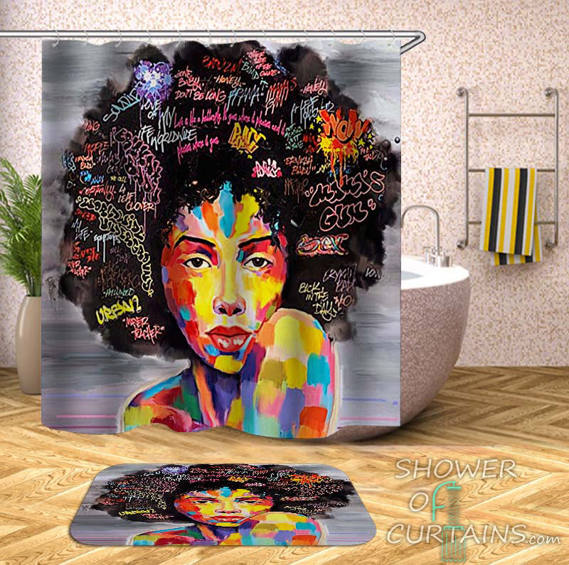 Colorful Shower Curtains of Afro Hair Gorgeous Black Woman Shower Curtain