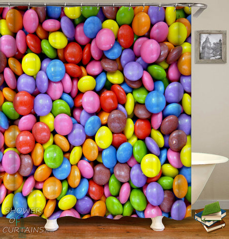 Colorful Shower Curtains of Colorful Chocolate Candy