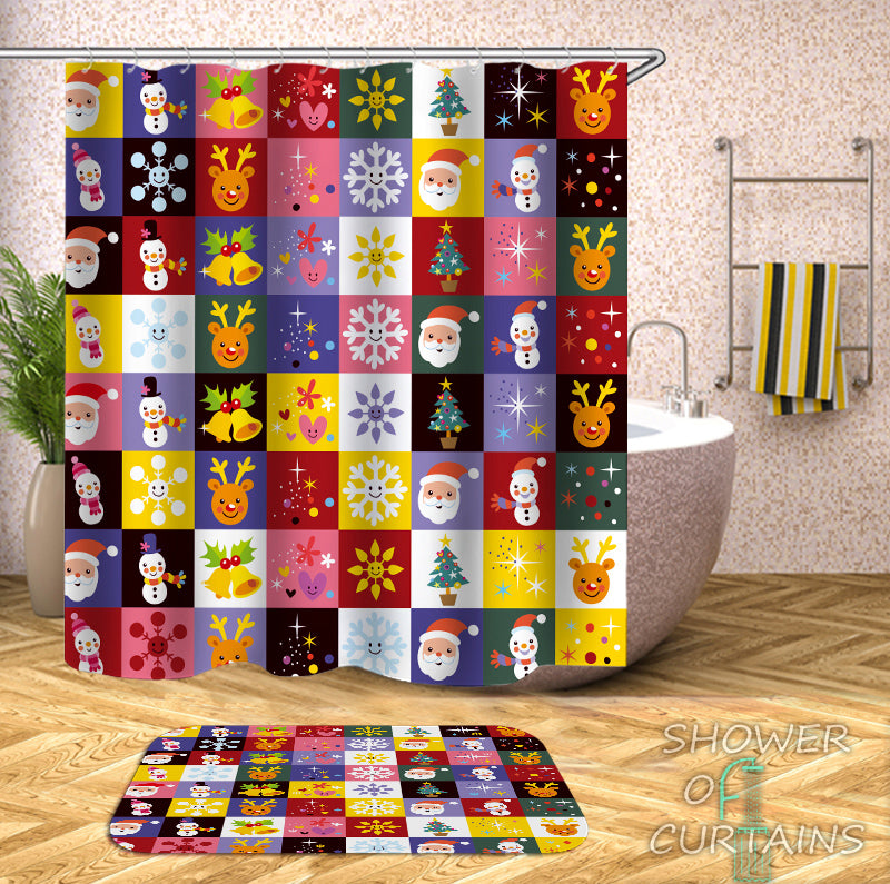 Colorful Shower Curtains of Colorful Christmas Checkers