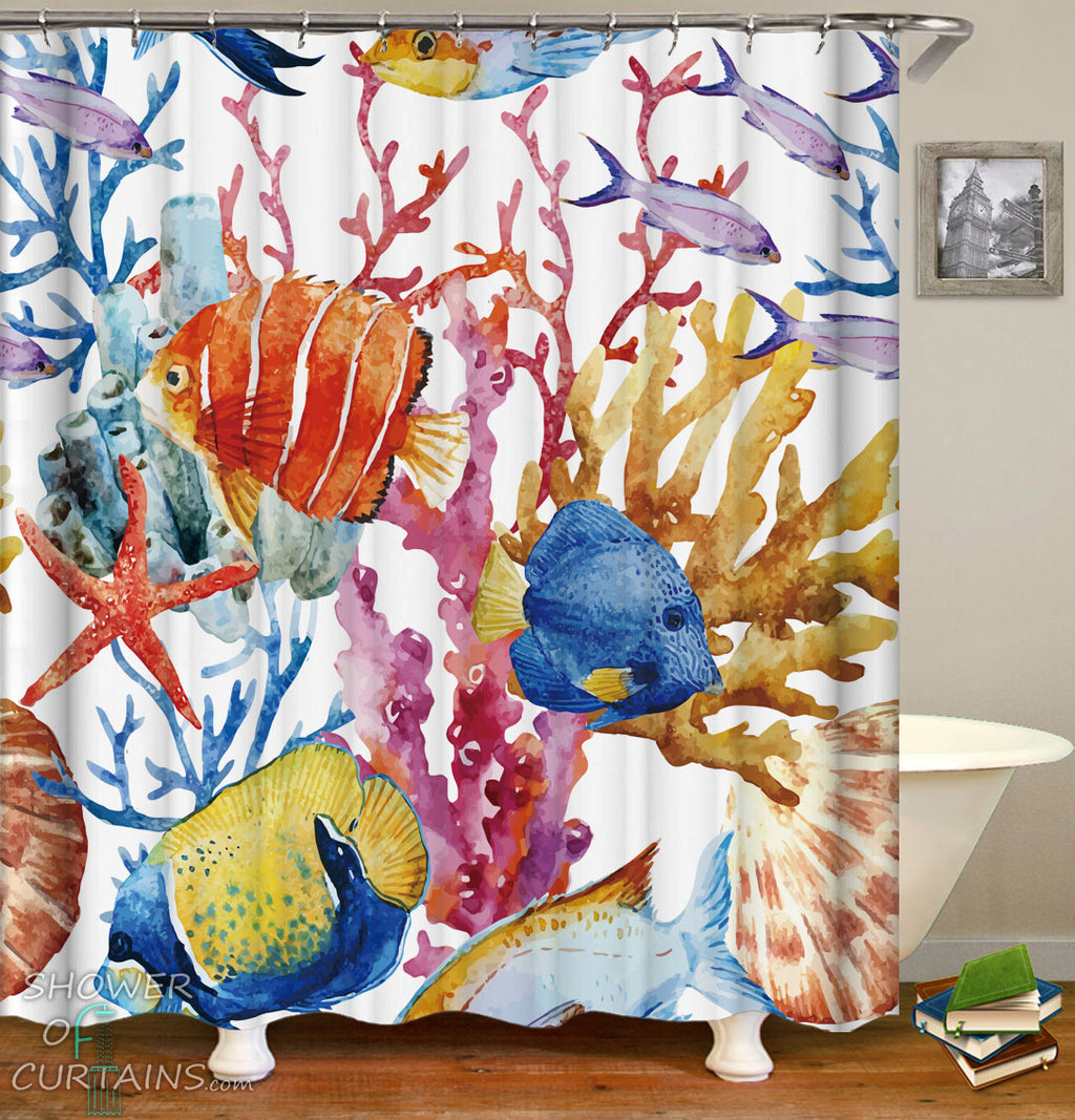 Colorful Shower Curtains of Colorful Coral And Fish Shower Curtain
