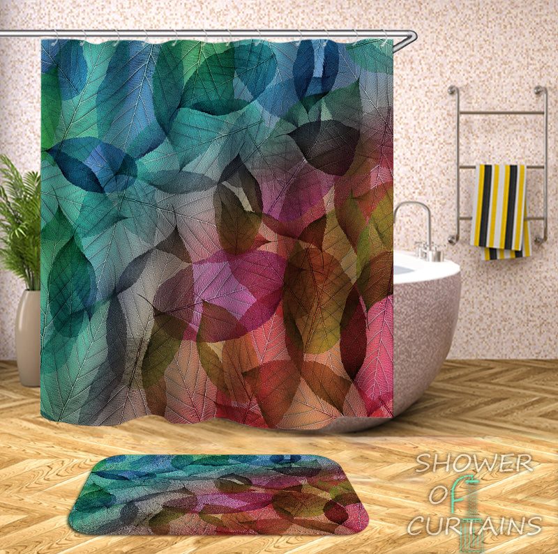 Colorful Shower Curtains of Colorful Leaves