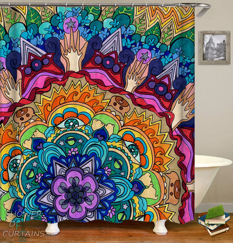 Colorful Shower Curtains of Colorful Mandala Animal Painting