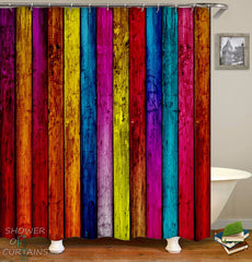 colorful-shower-curtains-rough-wooden-deck