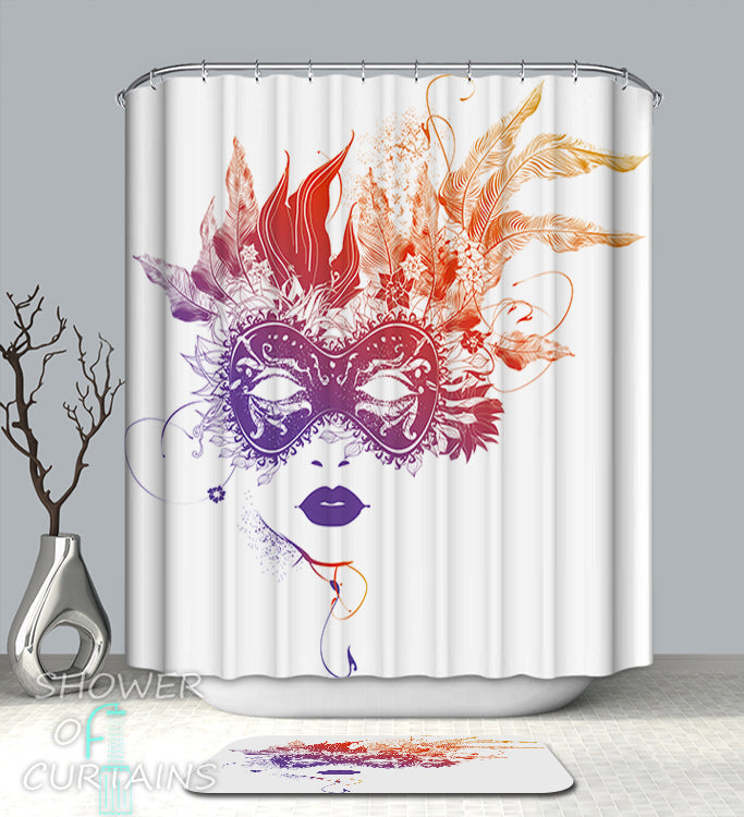 Colorful Shower Curtains of Flame Colors Feather mask Shower Curtain