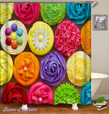 multi-colored shower curtain