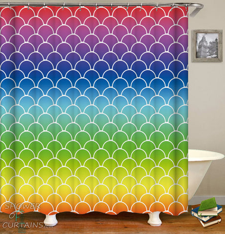 Colorful Shower Curtains of Rainbow Arches