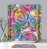 colorful floral drawing shower curtains