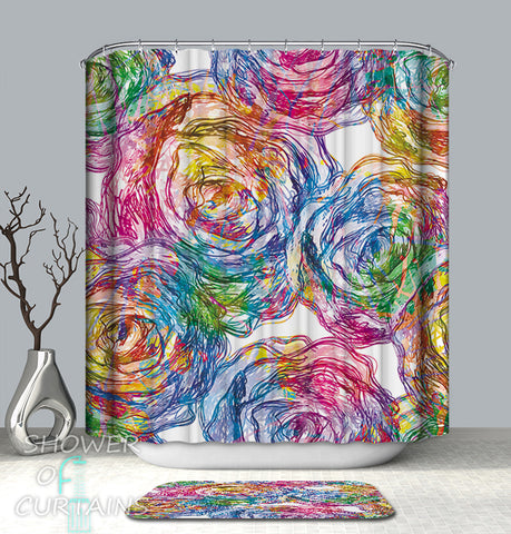 Colorful Shower Curtains of Riot Of Colors Flower Drawing