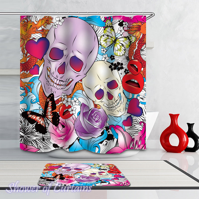 Colorful Skull Shower Curtain of Colorful Skull And Romance