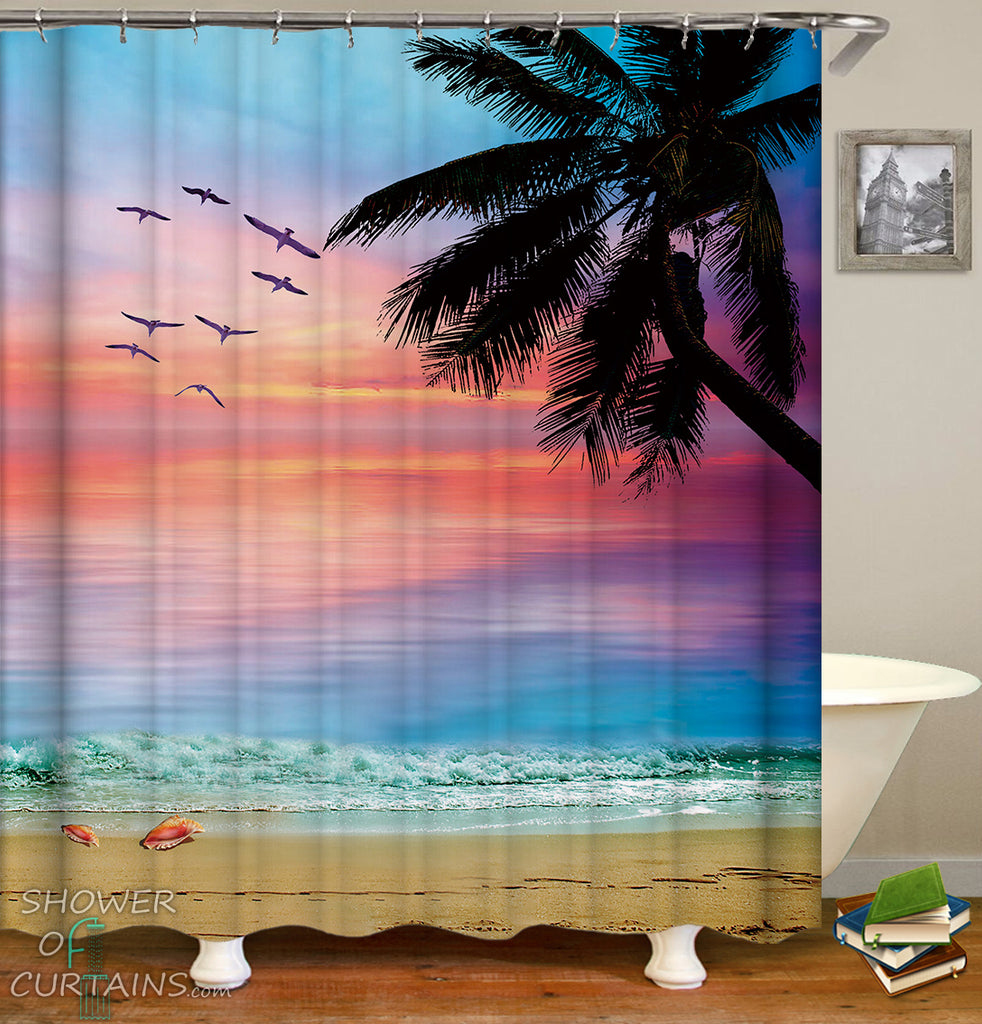 Colorful Sky Beach Shower Curtain