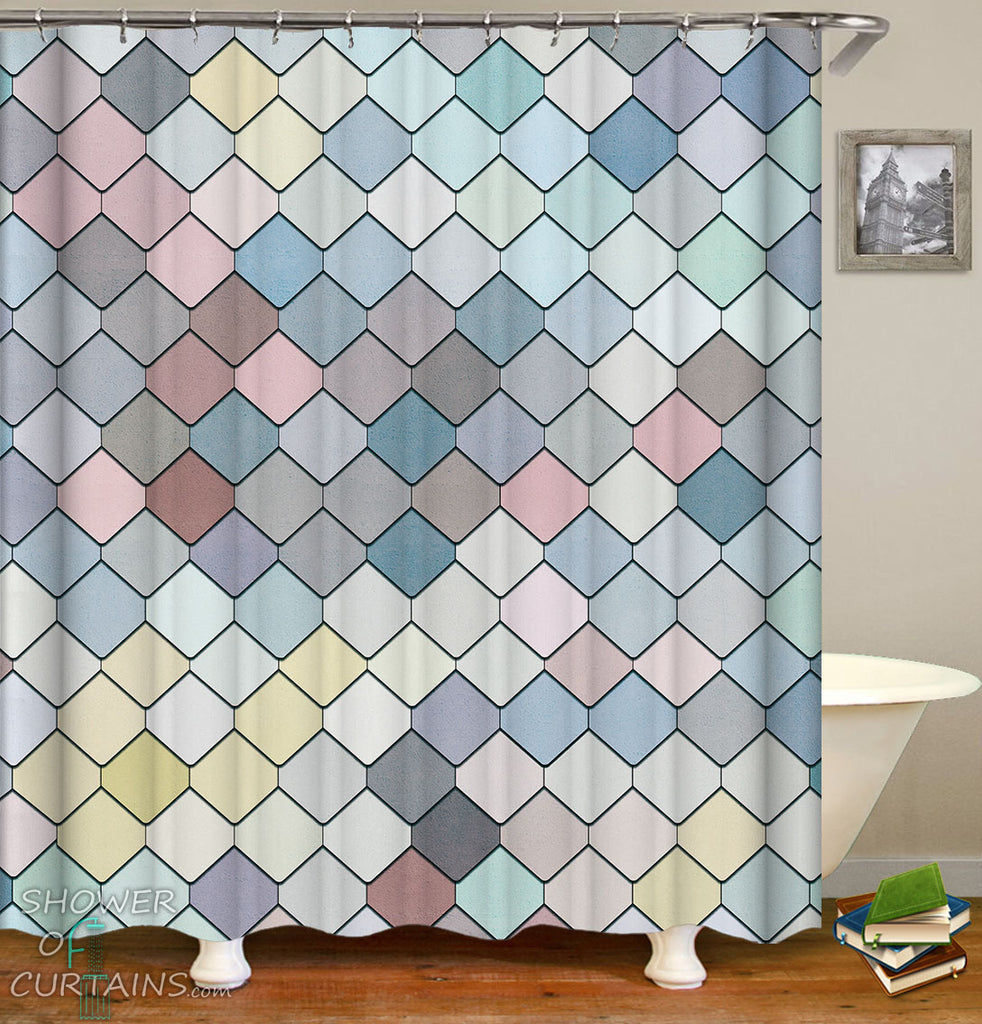 Colorful Tiles Shower Curtain - Elegnat Bathroom Decor Design
