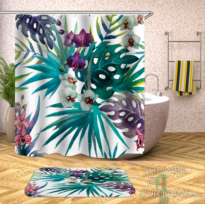 Colorful Tropical Leaves Shower Curtains - Tropical Themed Bathroom