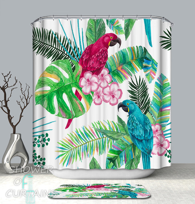 Colorful Tropical Shower Curtains Design of Colorful Parrot And Tropical Leaves Shower Curtain and Bath Mat