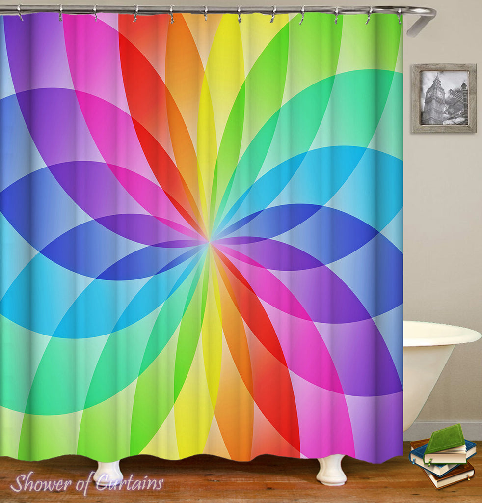 Colorful shoert curtains - Rainbow Ellipses Circle