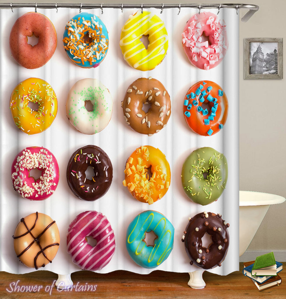 Colorful shower curtains - Colorful Doughnuts