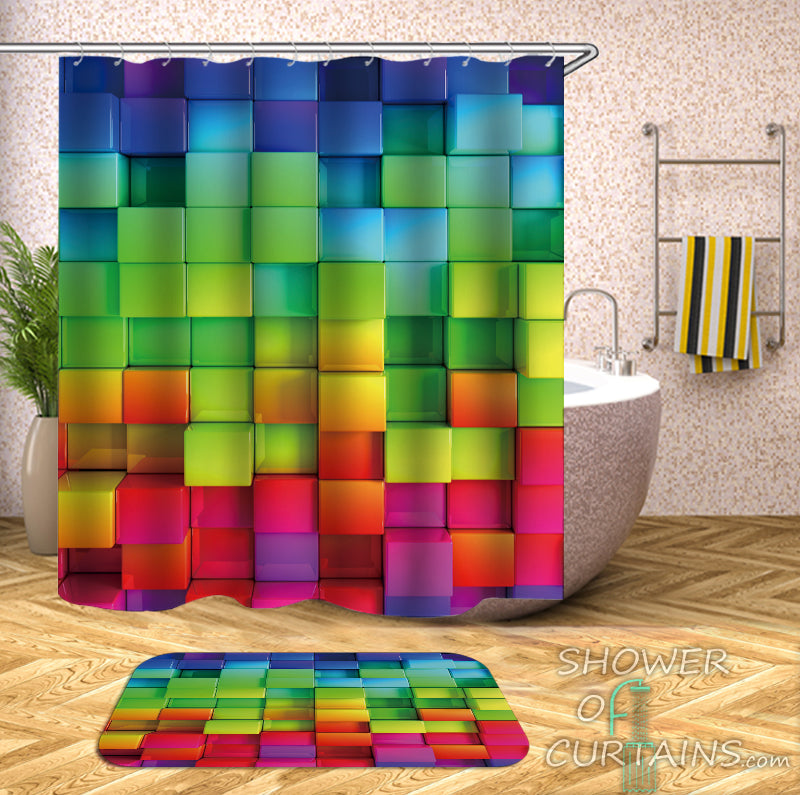 Colorful shower curtains design - Rainbow Bricks