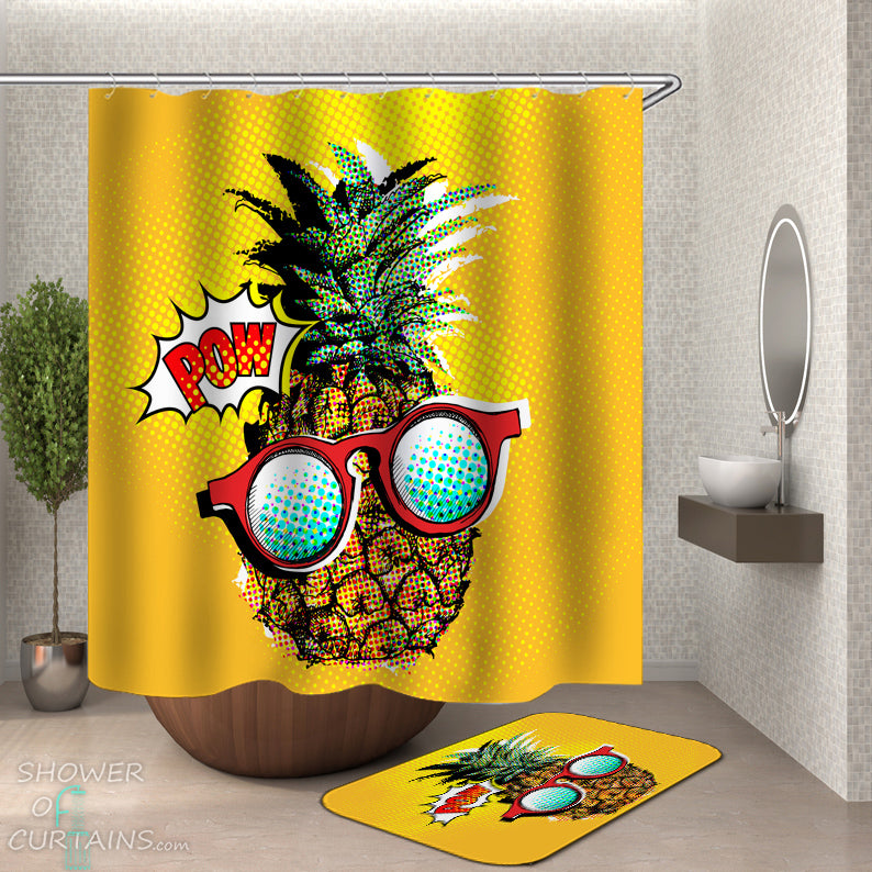 Comic Pineapple Shower Curtain