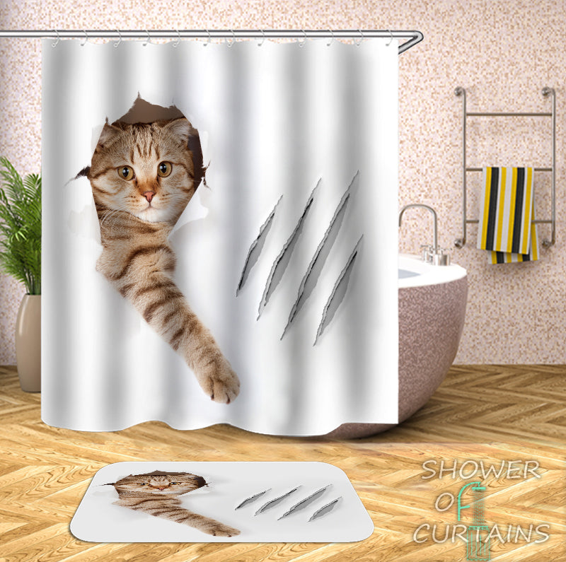 Ordinaire Cool   Scratching Cat Shower Curtain